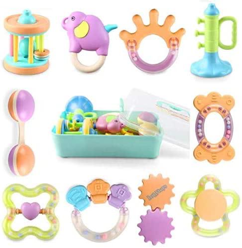 Bemixc 歯固め 新生児 おもちゃ 10pcs 音の出る赤ちゃん おもちゃ 0歳 ベビー ガラガラ 出産祝い